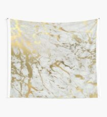 Gold marble on white (original height quality print) Wall Tapestry