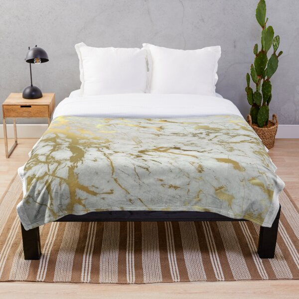 Gold marble on white (original height quality print) Throw Blanket