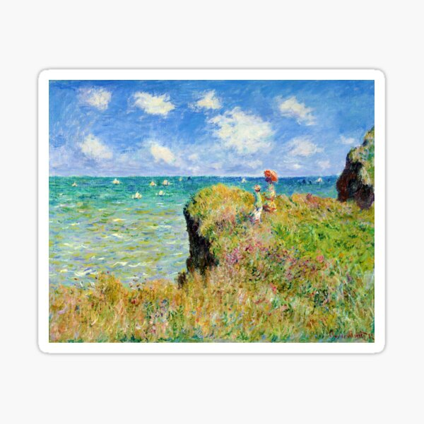 Claude Monet - Walk on the Cliff at Pourville Sticker