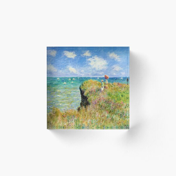 Claude Monet - Walk on the Cliff at Pourville Acrylic Block