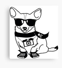Hipster Corgi - Cute Dog Cartoon Character - Corgis Rule Canvas Print