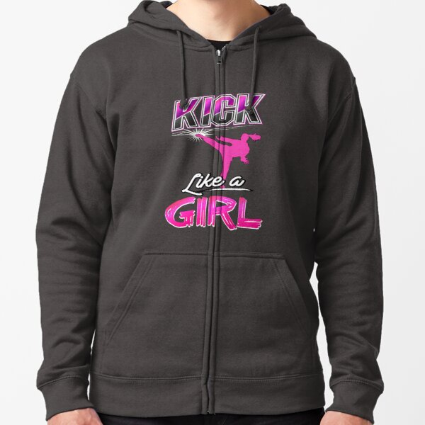 Kick Like A Girl Taekwondo Quote All Stars Girls Pink Zipped Hoodie