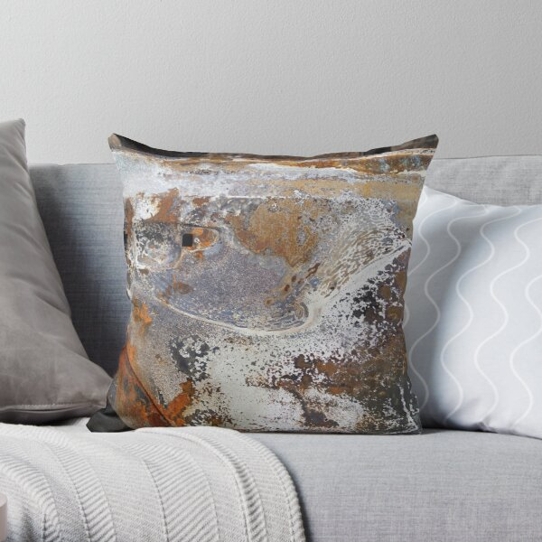 decay rust metal burnt car marble texture pattern Throw Pillow