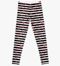 Vector Stripe Pattern with Hearts Leggings