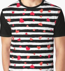 Vector Stripe Pattern with Hearts Graphic T-Shirt