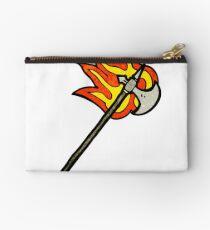 flaming medieval axe Zipper Pouch