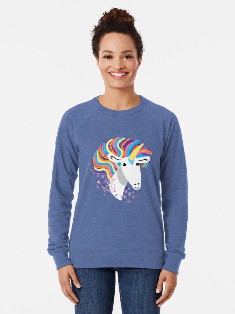 Alternate view of completely love this unicorn Lightweight Sweatshirt