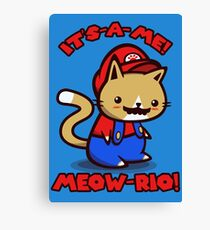 It's-a-me! Meow-rio! (Text ver.) Canvas Print