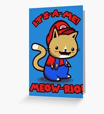 It's-a-me! Meow-rio! (Text ver.) Greeting Card