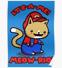 It's-a-me! Meow-rio! (Text ver.) Poster