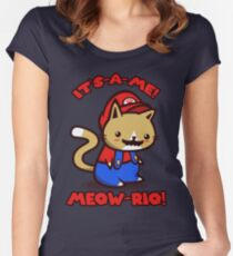 It's-a-me! Meow-rio! (Text ver.) Fitted Scoop T-Shirt
