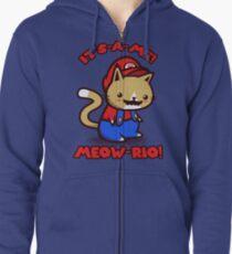 It's-a-me! Meow-rio! (Text ver.) Zipped Hoodie