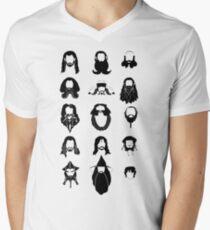 The Bearded Company Black and White Men's V-Neck T-Shirt