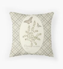 Butterflies and Thyme (natural) Throw Pillow