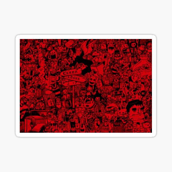 red doodle Pegatina