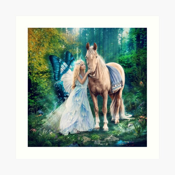 The Blue Fairy and Her Pony Art Print