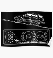 Toyota Tercel SR5 4WD Wagon AL25 BW Clinometer Poster