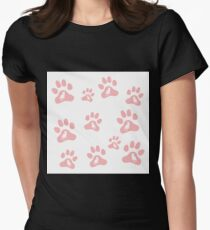 Nice picture of silhouette cats sit inside multicolored animal traces. Womens Fitted T-Shirt