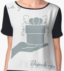 Cute picture with hand holding out a gift and an inscription: thank you. Chiffon Top