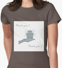 Cute picture with hand holding out a gift and an inscription: thank you. Womens Fitted T-Shirt