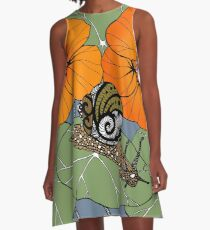 Snail with Nasturtiums A-Line Dress