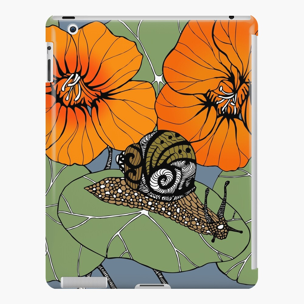 Snail with Nasturtiums iPad Case & Skin