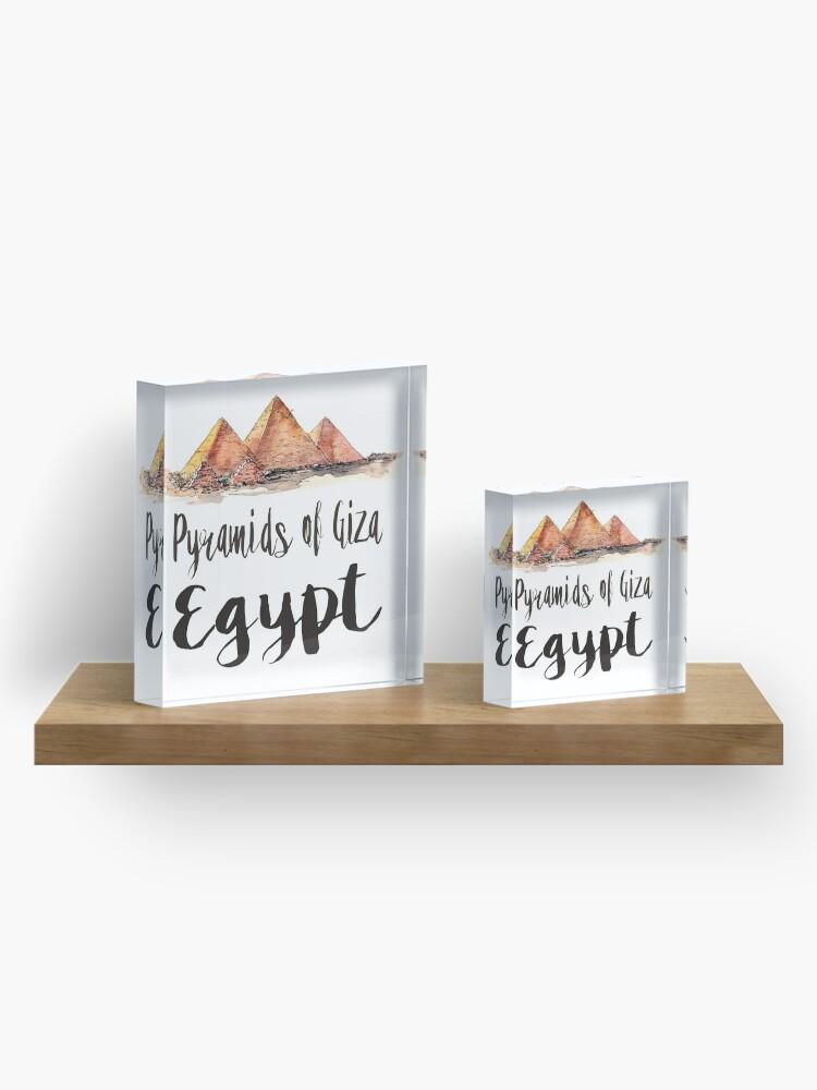 Alternate view of Pyramids of Giza watercolor Acrylic Block
