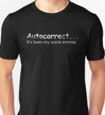 Funny Grammar Shirt Auto Correct Has Been My Worst Enema Slim Fit T-Shirt