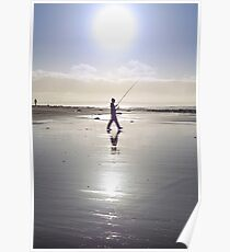 lone fisherman fishing on the sunny Kerry beach Poster