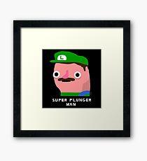Super plunger man (white text) Framed Print