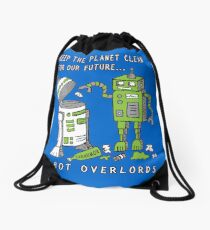 Robot Earth Drawstring Bag