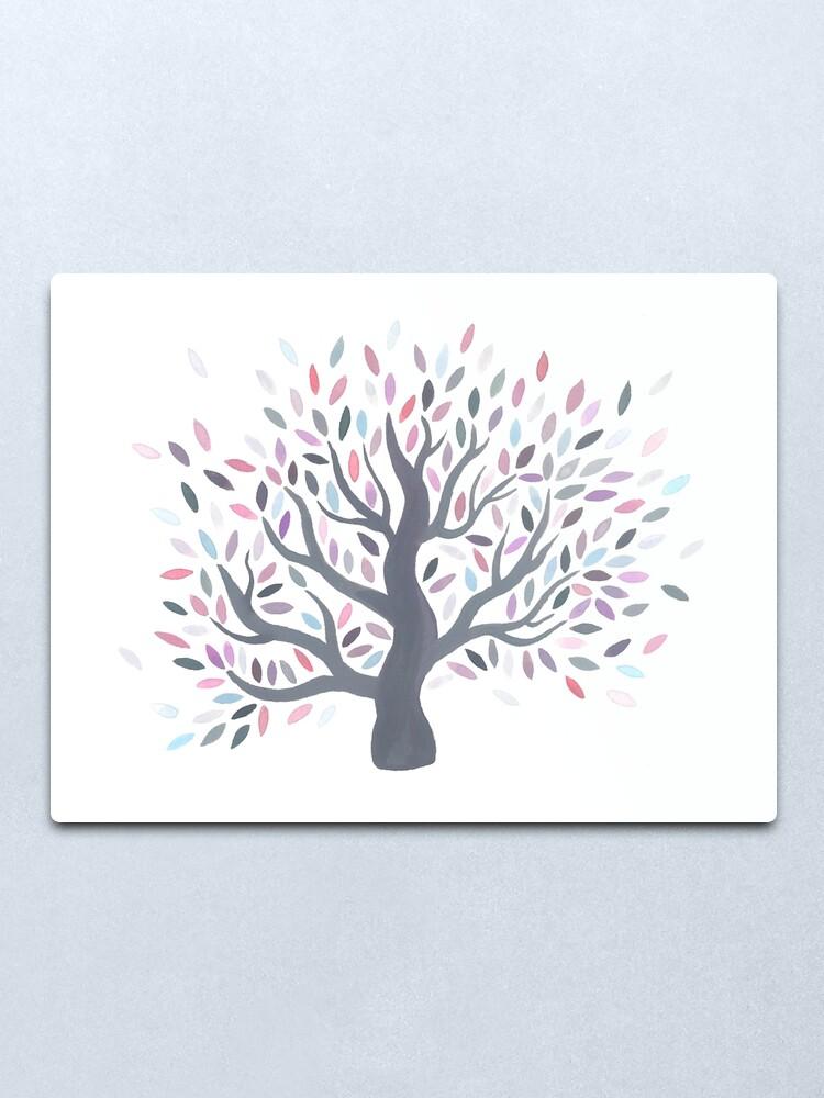 Alternate view of Multicolored tree of spring Metal Print