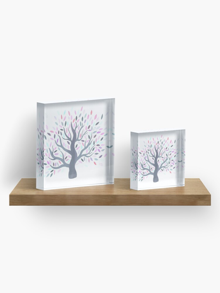 Alternate view of Multicolored tree of spring Acrylic Block
