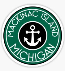 MACKINAC ISLAND MICHIGAN ANCHOR NAUTICAL LAKE HURON GREAT LAKES VINTAGE Sticker