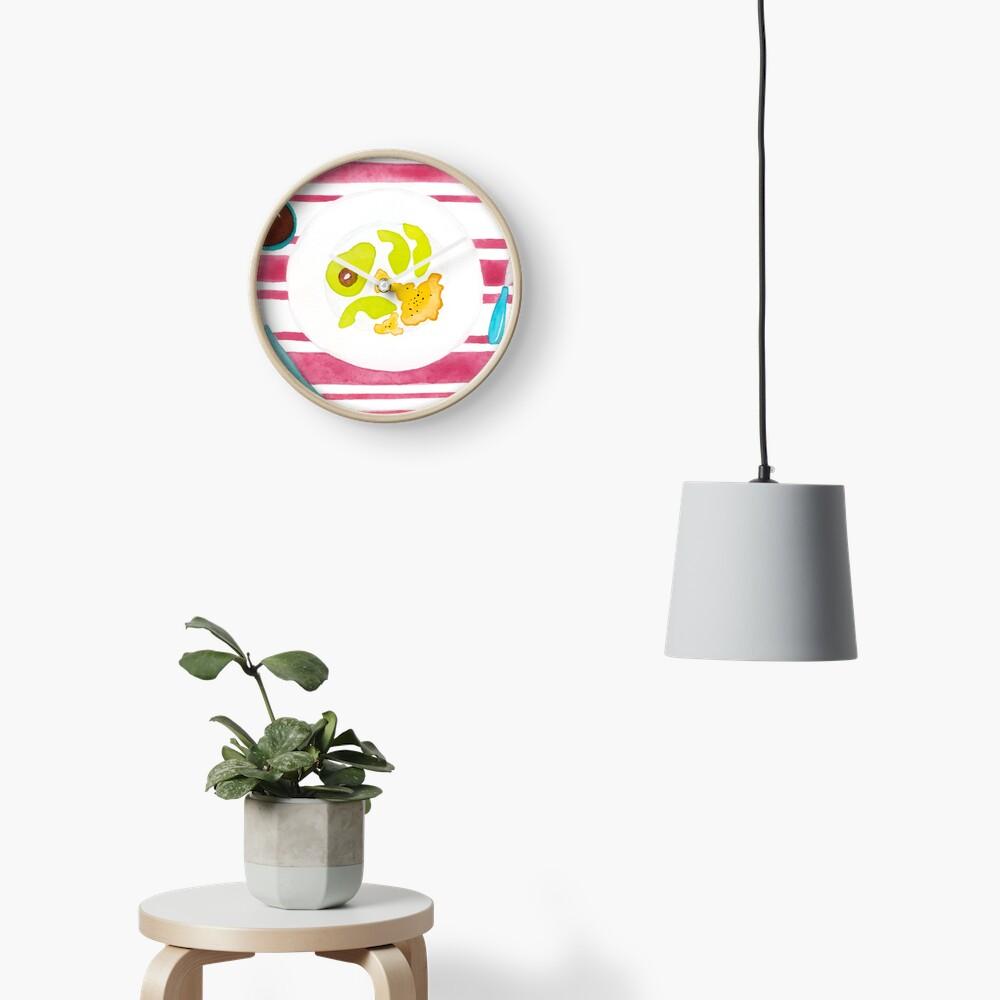 Eggs and avocado breakfast Clock