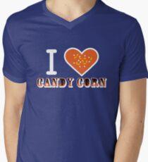 I Heart Candy Corn V2 ( Black Text Clothing ) Mens V-Neck T-Shirt