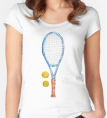Tennis racket with tennis balls_2 Women's Fitted Scoop T-Shirt