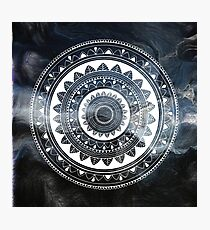 Gentle with my words blue and white hand drawn mandala Photographic Print