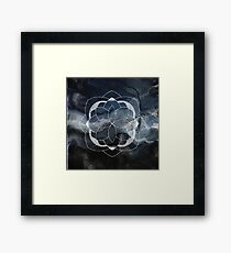 Concentration blue and white hand drawn mandala Framed Print