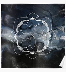 Concentration blue and white hand drawn mandala Poster
