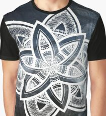Authentic blue and white hand drawn mandala Graphic T-Shirt