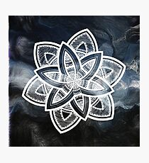 Authentic blue and white hand drawn mandala Photographic Print