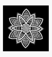 Wholness black and white mandala Photographic Print