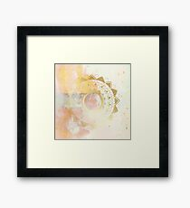 Quiet your mind pink and white hand drawn mandala Framed Print