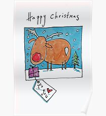 Happy Christmas to you from Rudolph Poster