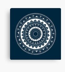 Expressive blue and white hand drawn mandala Canvas Print