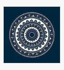 Expressive blue and white hand drawn mandala Photographic Print