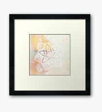 Light and love pink and white hand drawn mandala Framed Print