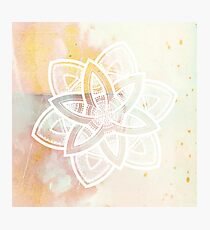 Light and love pink and white hand drawn mandala Photographic Print