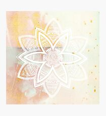 With the universe pink and white hand drawn mandala Photographic Print